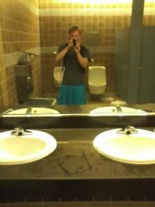 ugly bathroom skirt selfie